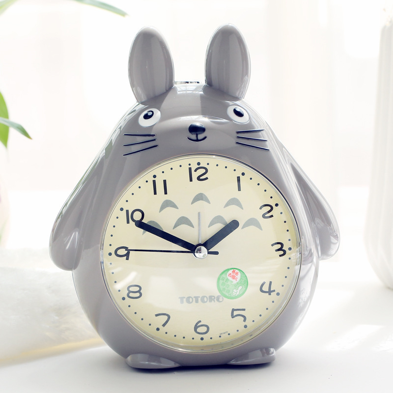 Personality Totoro Cartoon Child Student Get Up Alarm Clock Bedside Mute Night Light Snooze Function Cute Small Alarm Clock