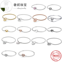 2017 crystal radiant heart sterling silver beads fit authentic pandora charms bracelet silver 925 original for jewelry berloque Cheny 925 Sterling silver Crystal Heart Charms Fit Original Pandora Bracelet CZ Heart Beads DIY Women Jewelry Base Chain Bangles