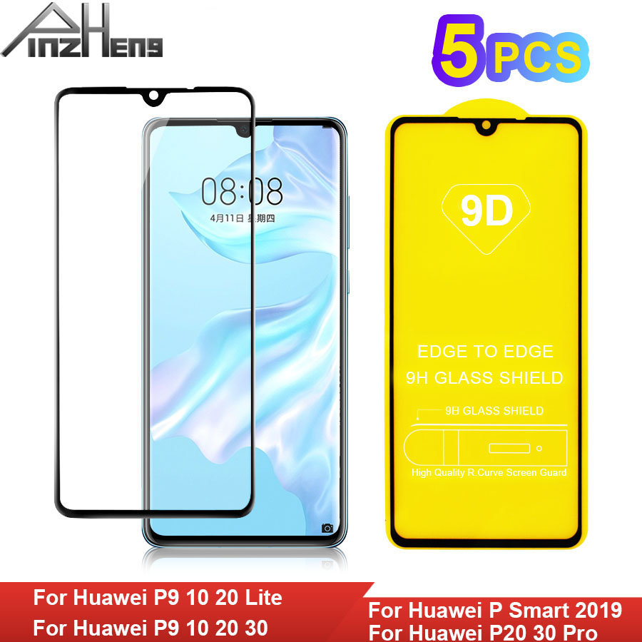 9D Full Cover Tempered Glass For Huawei P9 P10 P20 P30 Lite Glass For Huawei P Smart 2019 P20 P30 Pro Glasses Protector Film