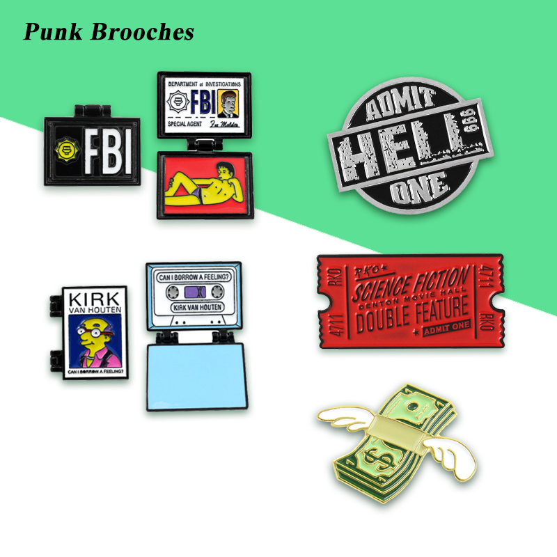 Punk Cool Brooches Collection Movie Banknotes Flight Notes Tape Simpson FBI Certificate Kirk Detective Hippie Jeans Badge Gift