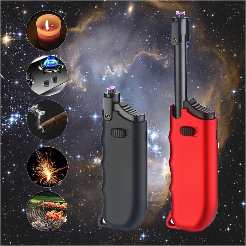 360 Flexible Neck Usb Electronic Lighter Long BBQ Plasma Arc Lighter Flameless Windproof Metal Torch Candle Lighter for Outdoor|Cigarette Accessories| |  - title=