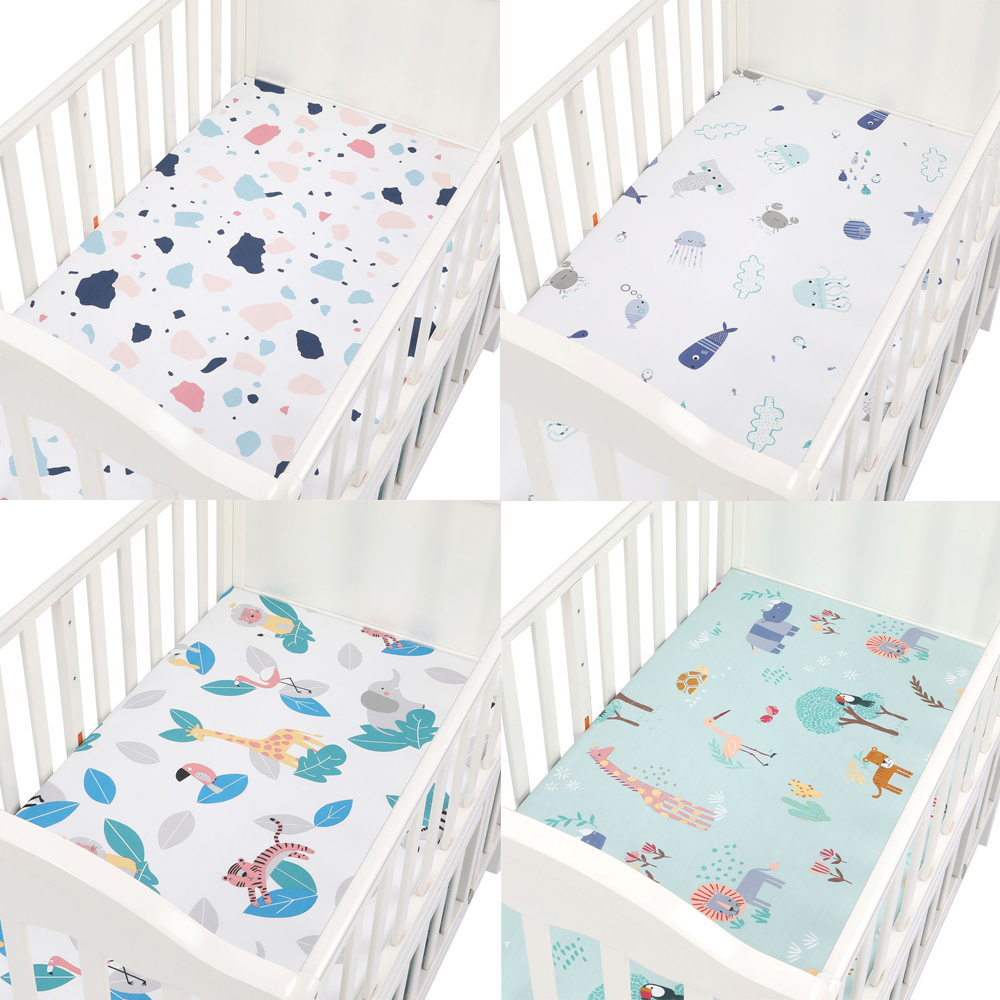 Newborn Baby 100% Cotton Fitted Crib Sheets 89*44cm Cotton Soft Bed Sheet Baby Bed Mattress Covers Printed For Baby Boys Girls