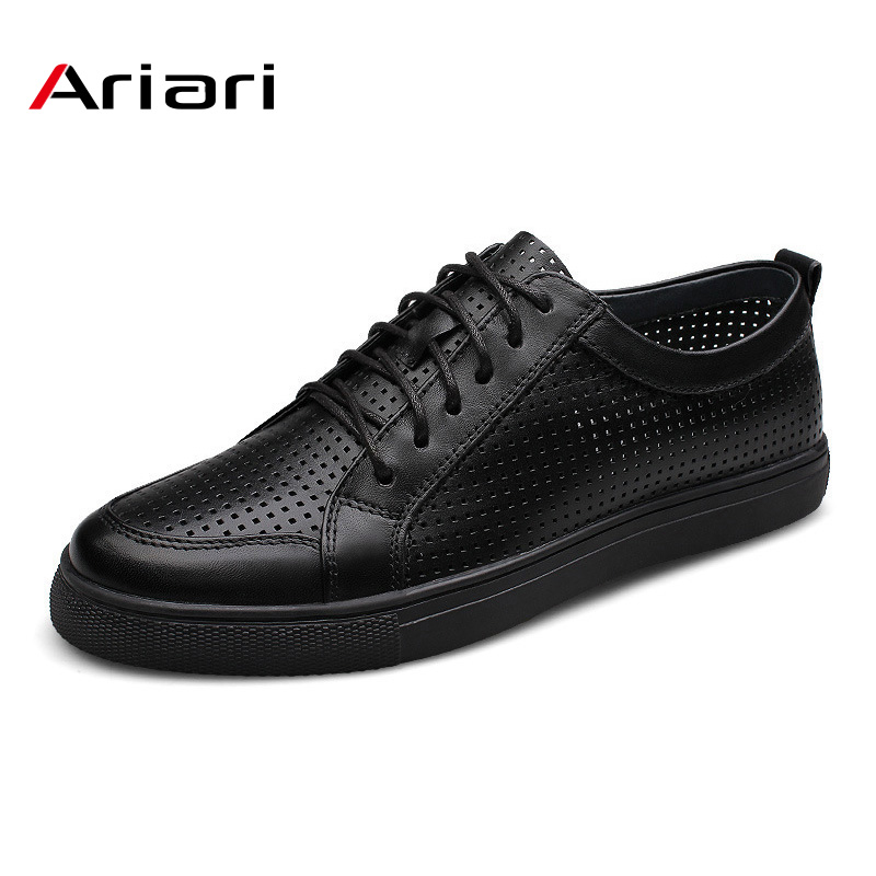 Genuine leather breathable men shoes cowhide casual men flat shoes fashion summer lace up footwear for