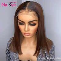Ombre Brown 360 peluca con malla frontal pre-desplumado corte Pixie Bob corto recta pelucas de cabello humano cabello brasileño para mujeres negras 130 Remy