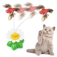 Portable Electric Cat Toy Rotating Bird Fun Flowers Green Leaf Interactive Scratching Funny Intertive Toys