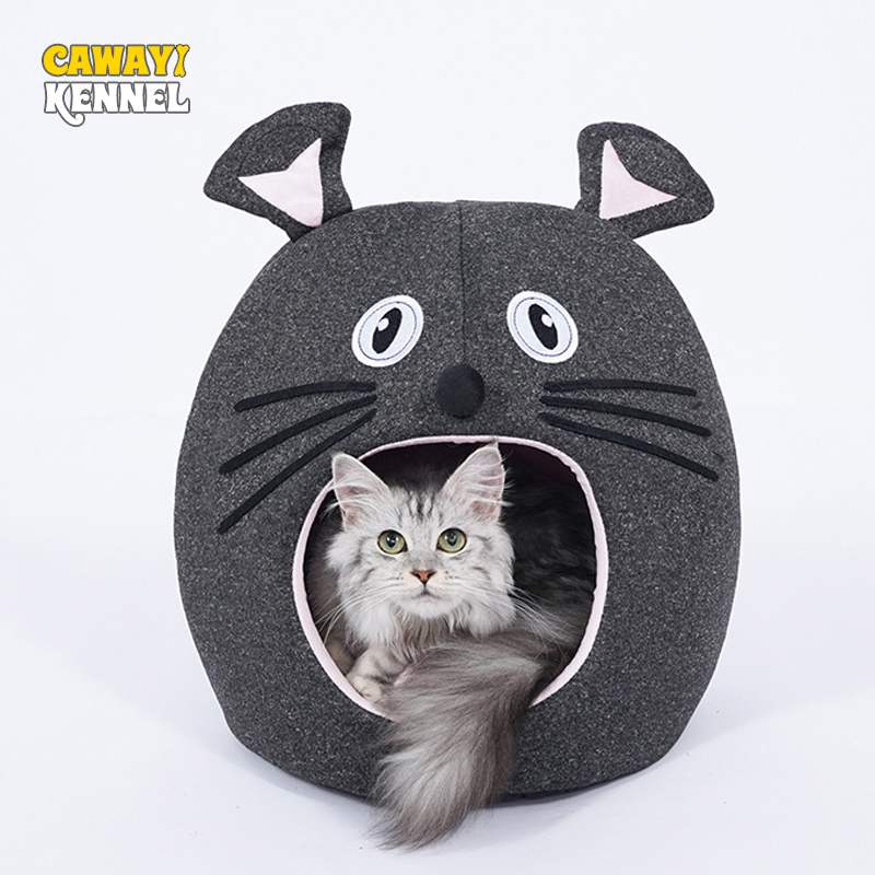 CAWAYI KENNEL Detachable Pet Cat Soft  House Semi-closed Bed Washable Bed For Cats Cama Gato Cama Para Gato Kedi Evi Kattenmand
