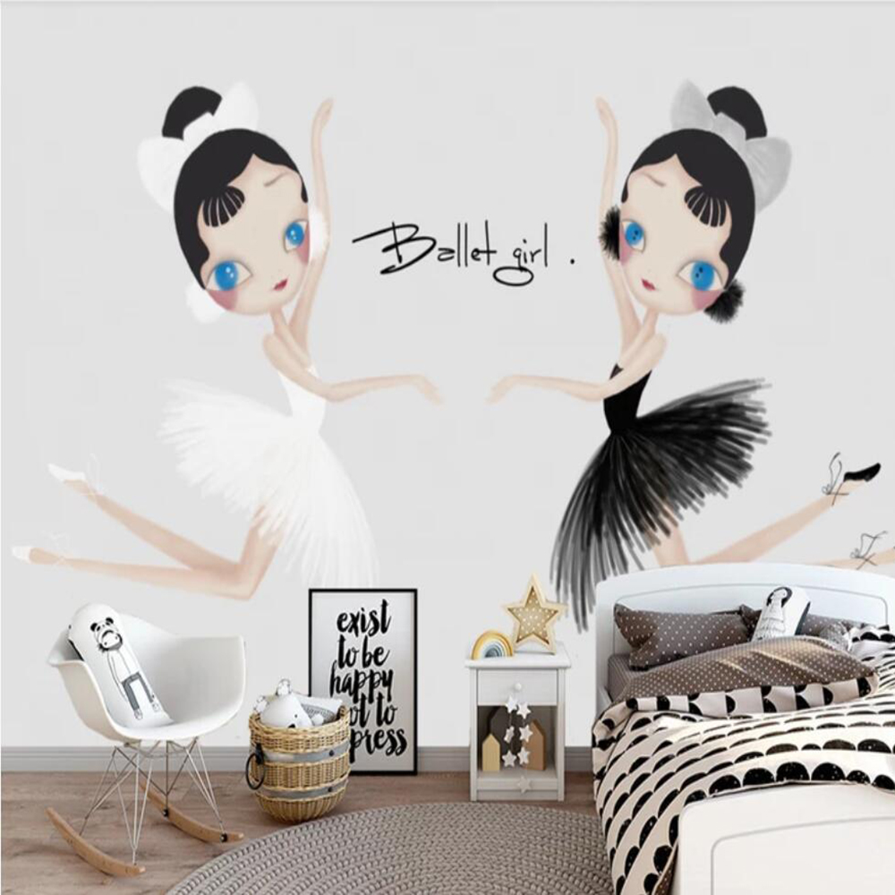 Drop Shipping Custom 3D Photo Wallpaper Powder Modern Hand-painted Cartoon Ballet Dance Room Background Wall Decoration Mural