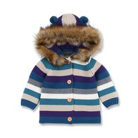 Toddler Baby Boys Girls Striped Sweater Hooded Knitted Tops Children Winter Warm Coat Fashion Clothes With New Brand