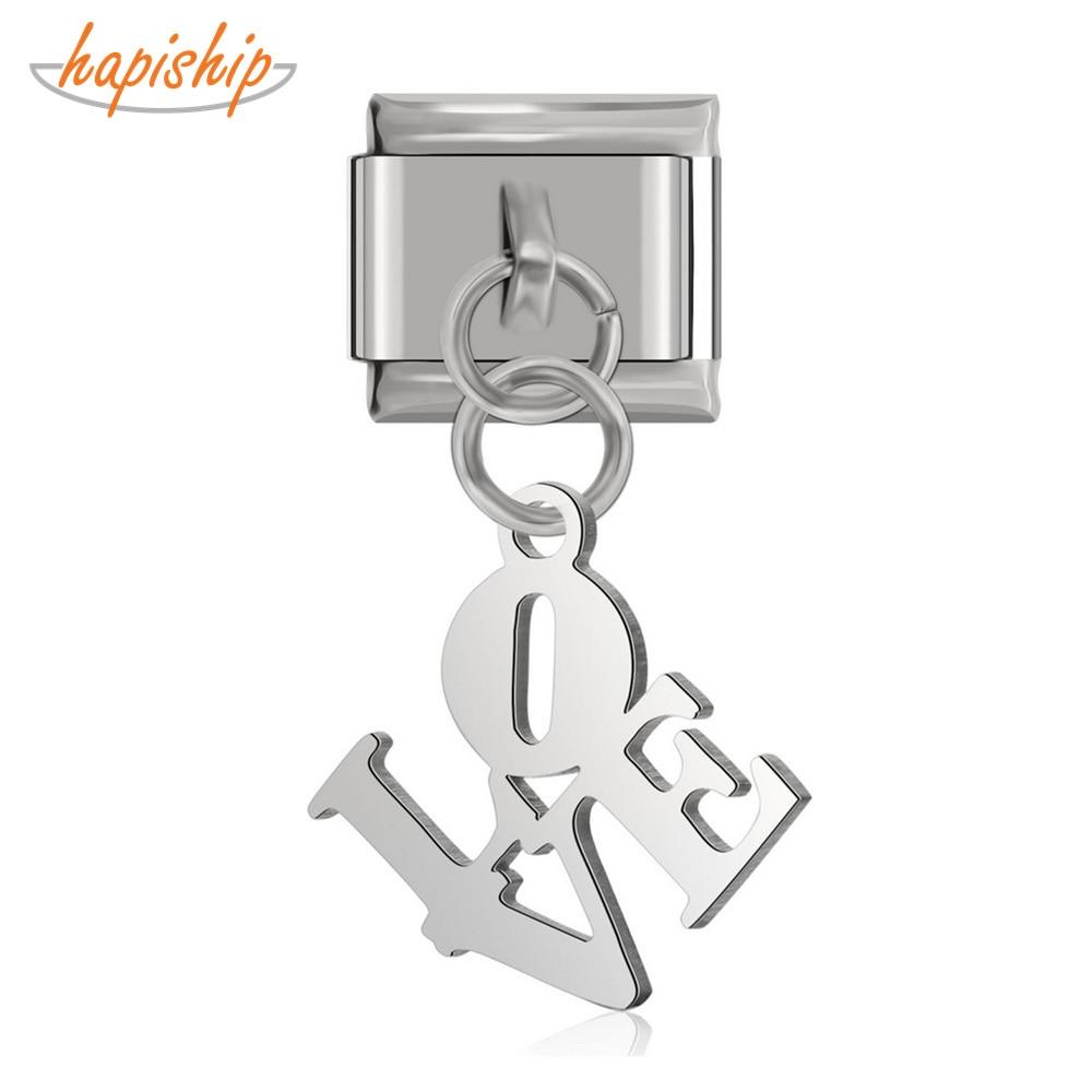 Hapiship 9mm Width Original Daisy Cutting Polishing Love Italian Charm Fit 9mm Bracelet Stainless Steel Jewelry Making DJ103