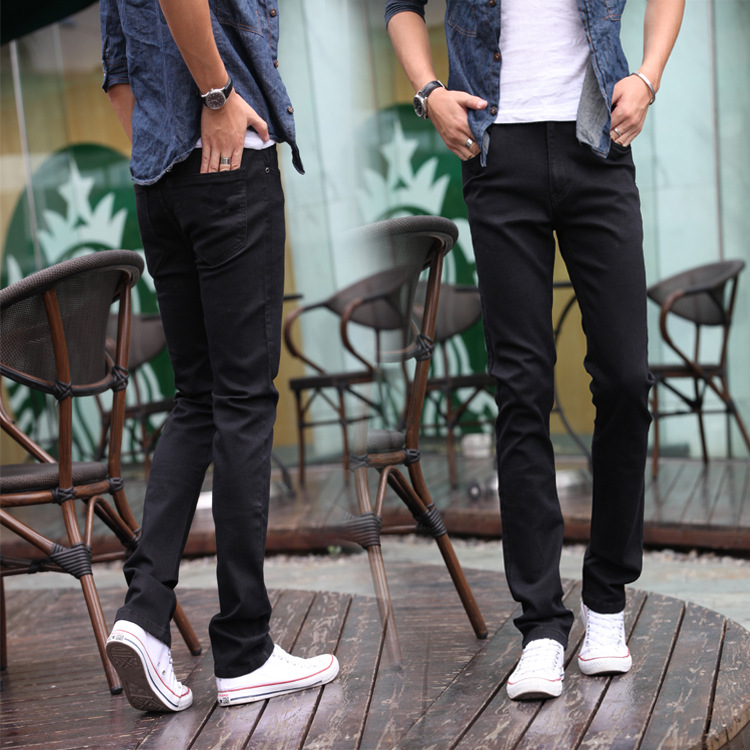 Teenager Black Jeans Male STUDENT'S Slim Fit Slimming Elasticity Pencil Long Pants Agent