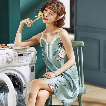 New Women Sexy Nightwear Plus Size M-XL Cotton Nightgown Sleepwear Dress Women's Summer Nightdress Cartoon Print Night Dress цена 2017