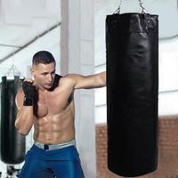 Professional PU Leather Empty Boxing Sandbags Punch Bag with Heavy Duty Steel Chain for Home Outdoors Gym