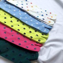 Chic Japanese Jacquard Split Toe Socks Fashion Digital Combed Cotton Two Toe Socks Women Korean Harajuku Two Finger Tabi Socks