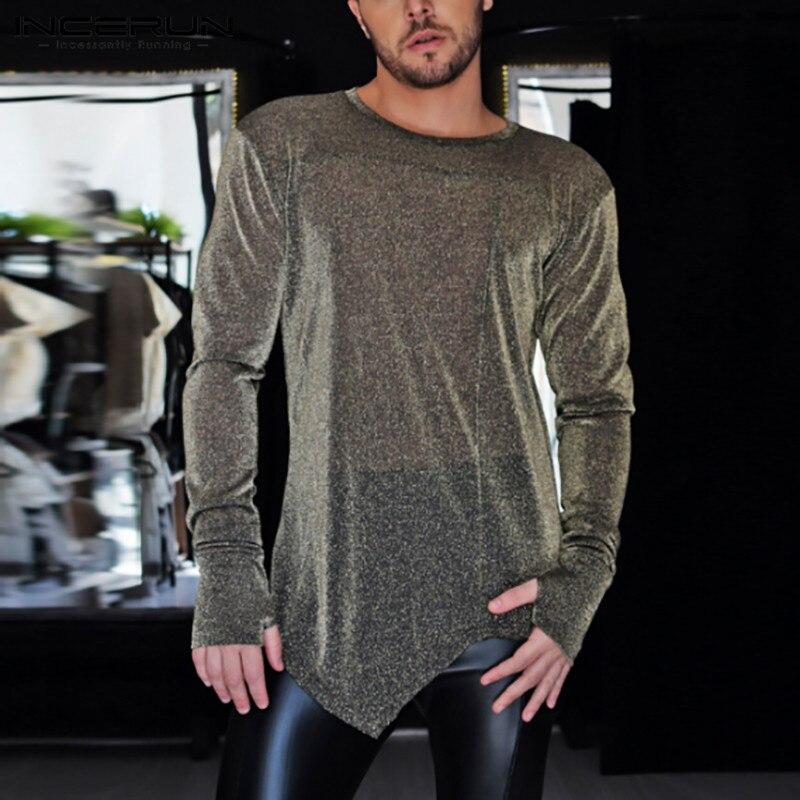 Long Sleeve O Neck See Through Tee Tops INCERUN Mens Mesh T Shirts Transparent Sexy Party Shiny T-shirts Man Irregular Camisetas