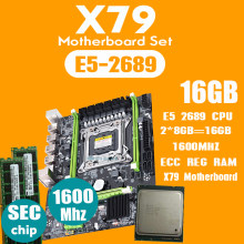 Atermiter X79 Placa base con LGA2011 combos Xeon E5 2689 CPU 2 uds x 8GB = 16GB de memoria DDR3 RAM 1600Mhz PC3 12800R PCI-E(China)