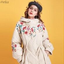 ARTKA Зимний женский пуховик ретро Цветочная вышивка 90% белый утиный пух пальто с капюшоном Толстая теплая Длинная Верхняя одежда YK15092D