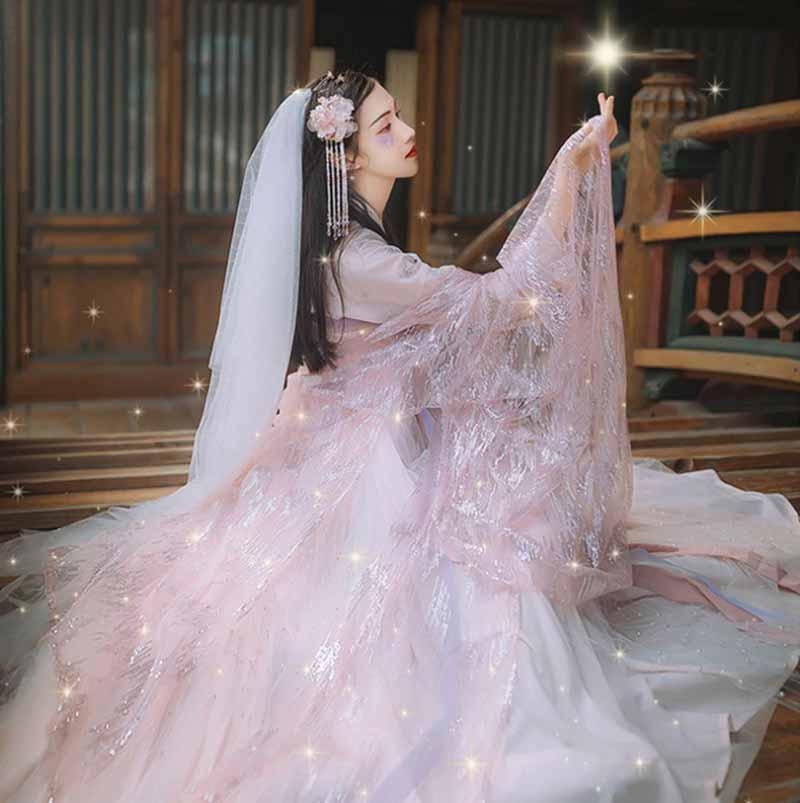 Роскошные женские Hanfu китайские традиционные старинные наборы розового цвета свадебное платье Женский карнавальный костюм подарок на день...