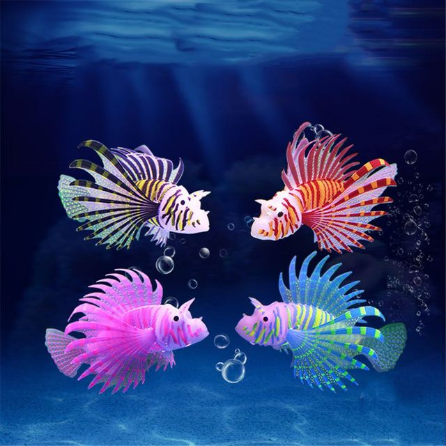 Aquarium Artificial Luminous Lionfish Fish Tank Aquatic Landscape Silicone Jellyfish Fish Glow In Dark Underwater Ornament 1