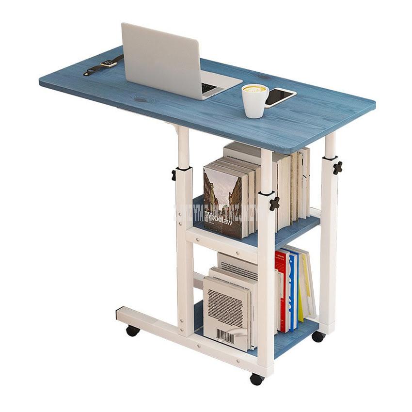 Movable Simple Design Laptop Table Wood Desktop Height Adjustable Bed Sofa Side Computer Notebook Laptop Desk Table Iron Frame