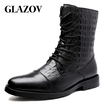 GLAZOV Brand 2019 Winter Snow Men Boots Rain Shoes Waterproof With Fur Plush Warm Male Casual Mid-Calf Work Fishing Boot 35-47