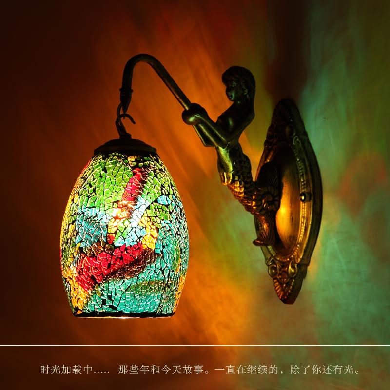 Tiffany Colorful Nordic Vintage Iron Crystal Led Wall Lamp Bohemian Bedroom Wall Lamp Tiffany Wall Lamp