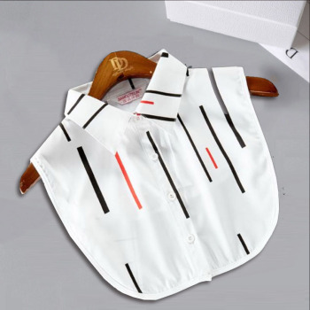 White Lace Fake Collar Women Stripe Ladies False Stand Plaid Detachable Shirt Red Half Blouse