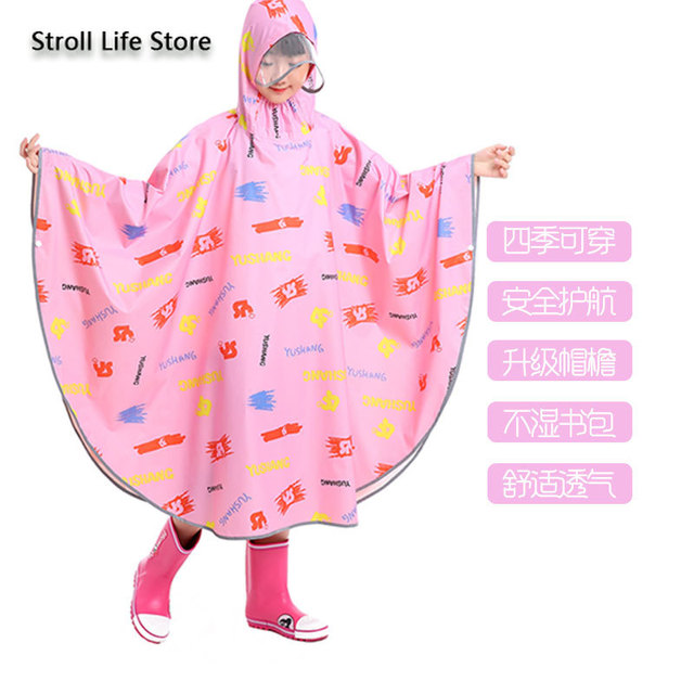 Pink Girl Rain Poncho Kids Raincoat Hiking Children Adult Long Rain Coat Jacket Bicycle Breathable Chest Waders Partner Gift 4