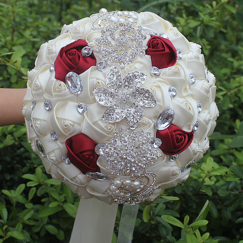 Rose Crystal Wedding Bouquet 14 Colors Brooch Bouquet Wedding Accessories Bridesmaid Artifical Wedding Flowers Bridal Bouquets