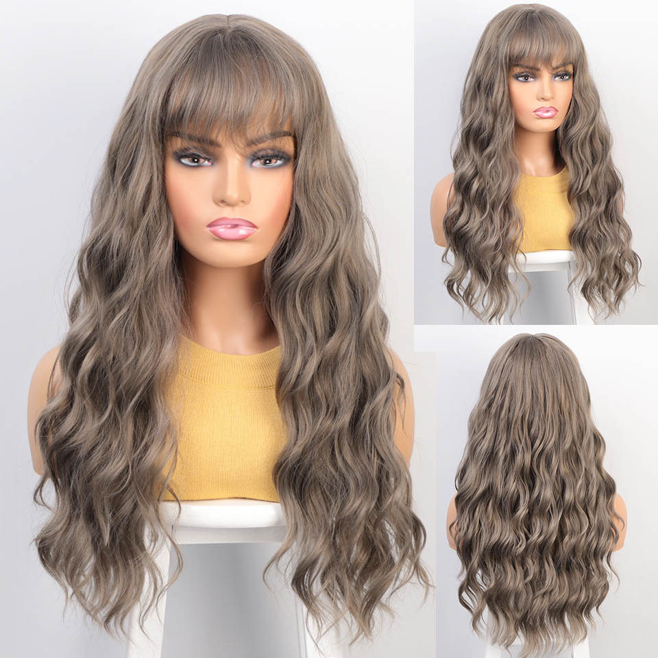 KookaStyle Long Wavy Womens Wigs with Bangs Pink/Brown/Grey mixed Black Heat Resistant Synthetic Wigs for Women African American