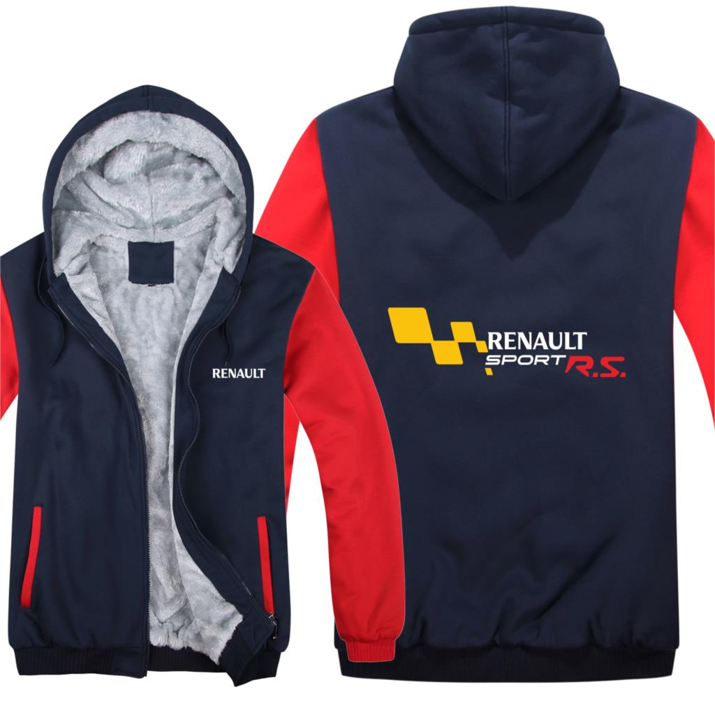 Winter Renault Sport RS Hoodies Mens Zipper Coat Fleece Thicken Renault Sport RS Sweatshirt Pullover