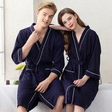 Waffle Cotton Lovers Bathrobe Gown Sleepwear Nightwear Casual Women Kimono Robe Nightdress Soft Homewear Home Clothes Nightgown