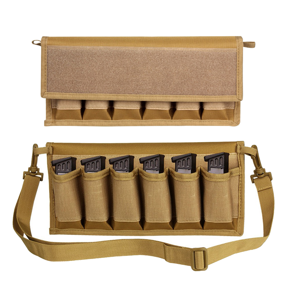 6 Slots Tactical Pistol Magazine Storage Pouch with Hook and Loop Fastener Airsoft Paintball 9mm .40 Ammo Carrier Shoulder Bag