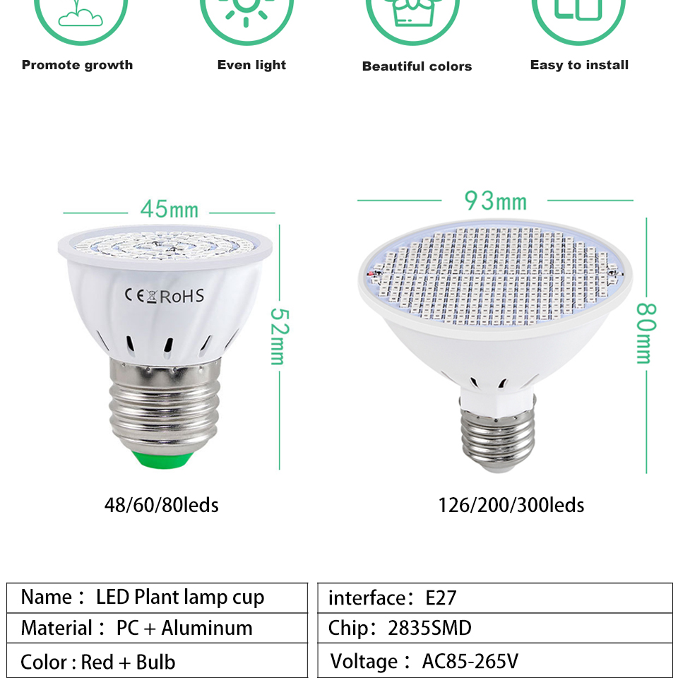 Mol 10 pces planta lâmpada copo e27