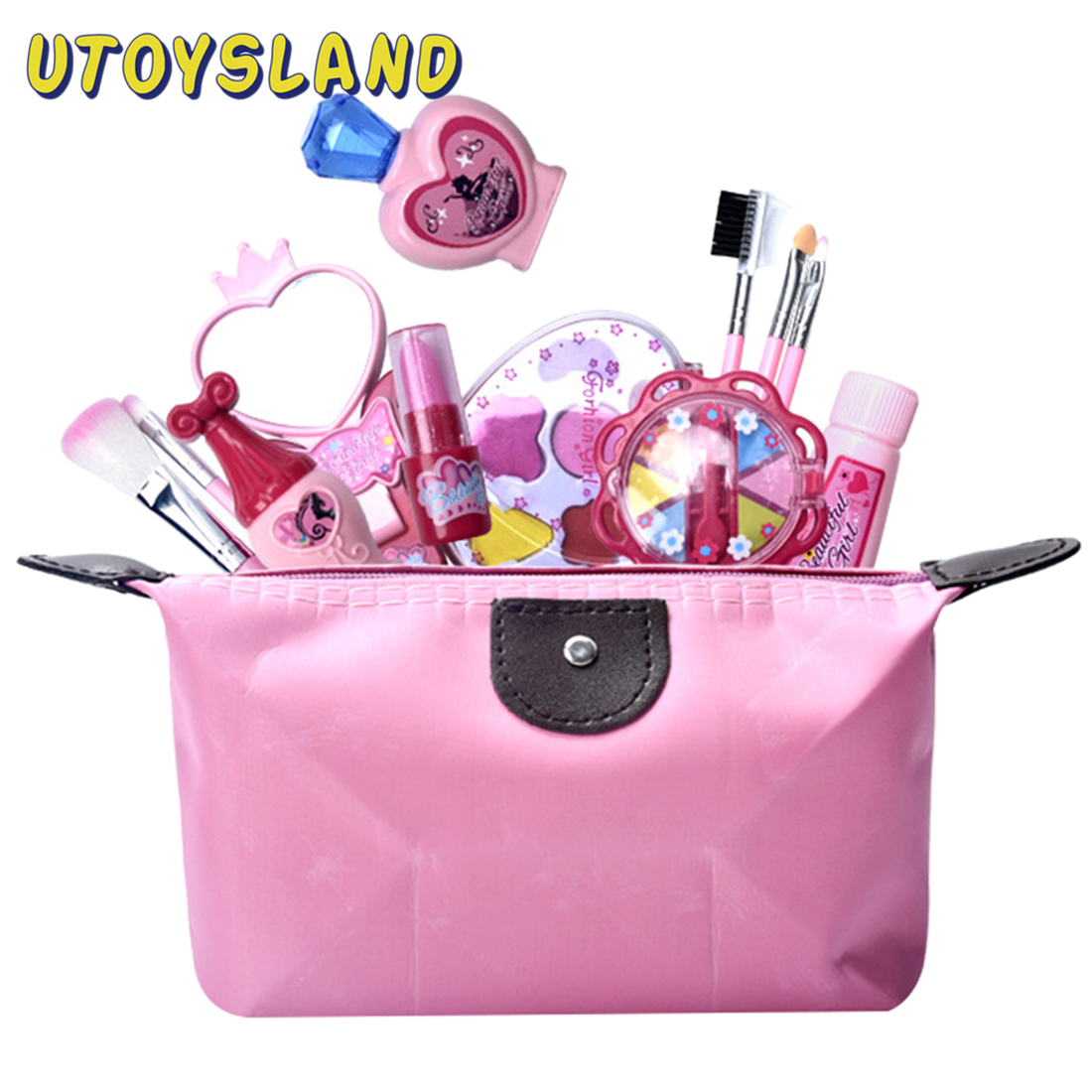 12pcs Girls Simulation Eye Shadow Makeup Kit Pretend Play Cosmetic Bag Role Play Classic Pretend Toys For Children - Pink Rosy