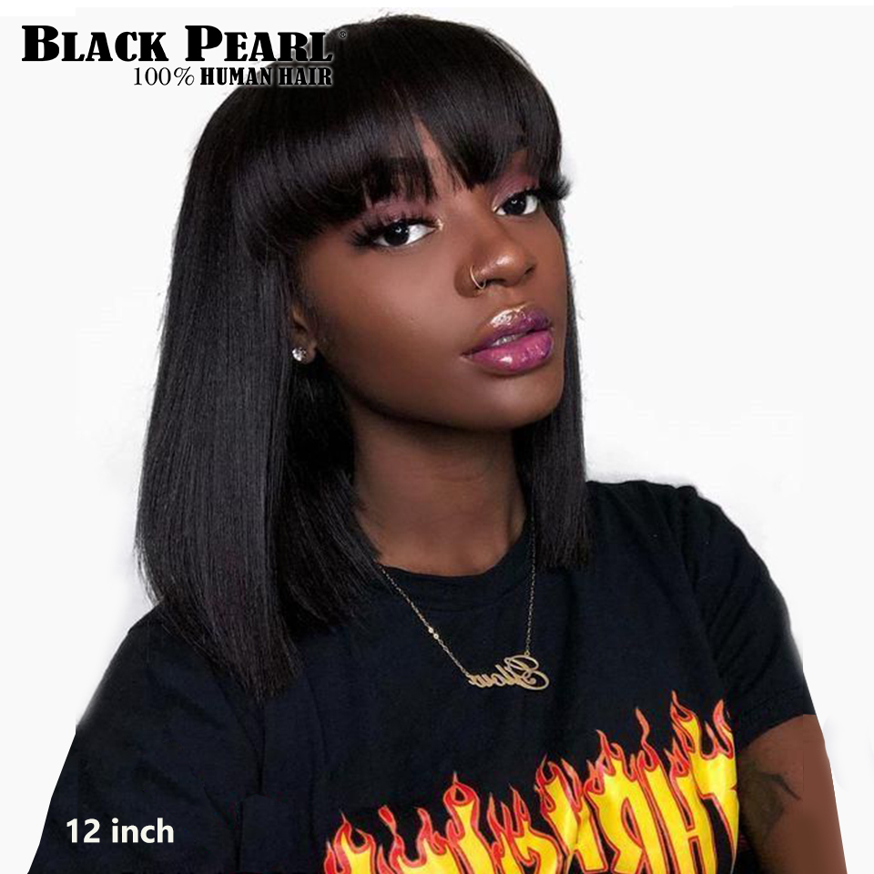 Black Pearl Mix Color Short Cut Straight Hair Wig Peruvian Remy Human Hair Wigs For Black Women Brown Ombre Red Blue Bob Wig