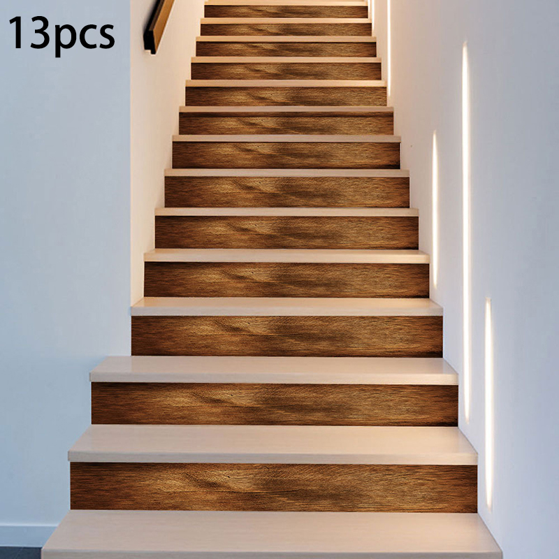 6/13Pcs Self Adhesive Stairs Sticker Removable Wood Pattern Stairs Stickers PVC Decoration For Home Room Decor Wall Stairways