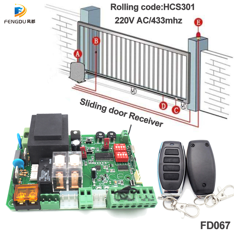 2 Channel 433.92Mhz 220V  AC Professional Sliding Door Controller Receiver Rolling Code Remote Control