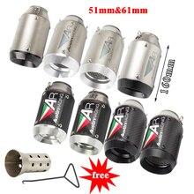 Tubo de Escape Universal para motocicleta, 51mm, 61mm, AR Austin, sistema de Escape de fibra de carbono con DB killer para GSXR600 Z1000 ER6N K7
