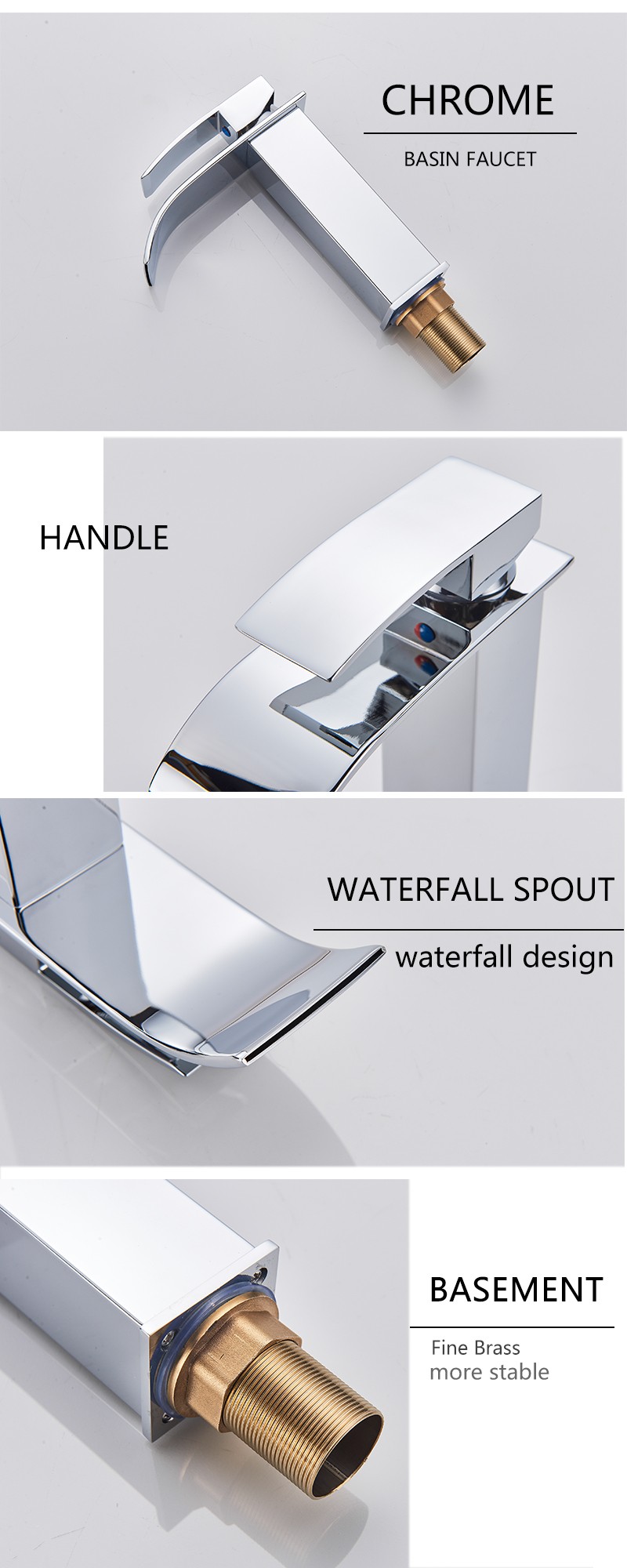 H9f0e5c9877ce44f79d504424e93c63b7E Rozin Hot cold basin faucet Waterfall Bathroom Vanity Sink Faucet Single Lever Chrome Brass Hot and cold Basin Washing Taps