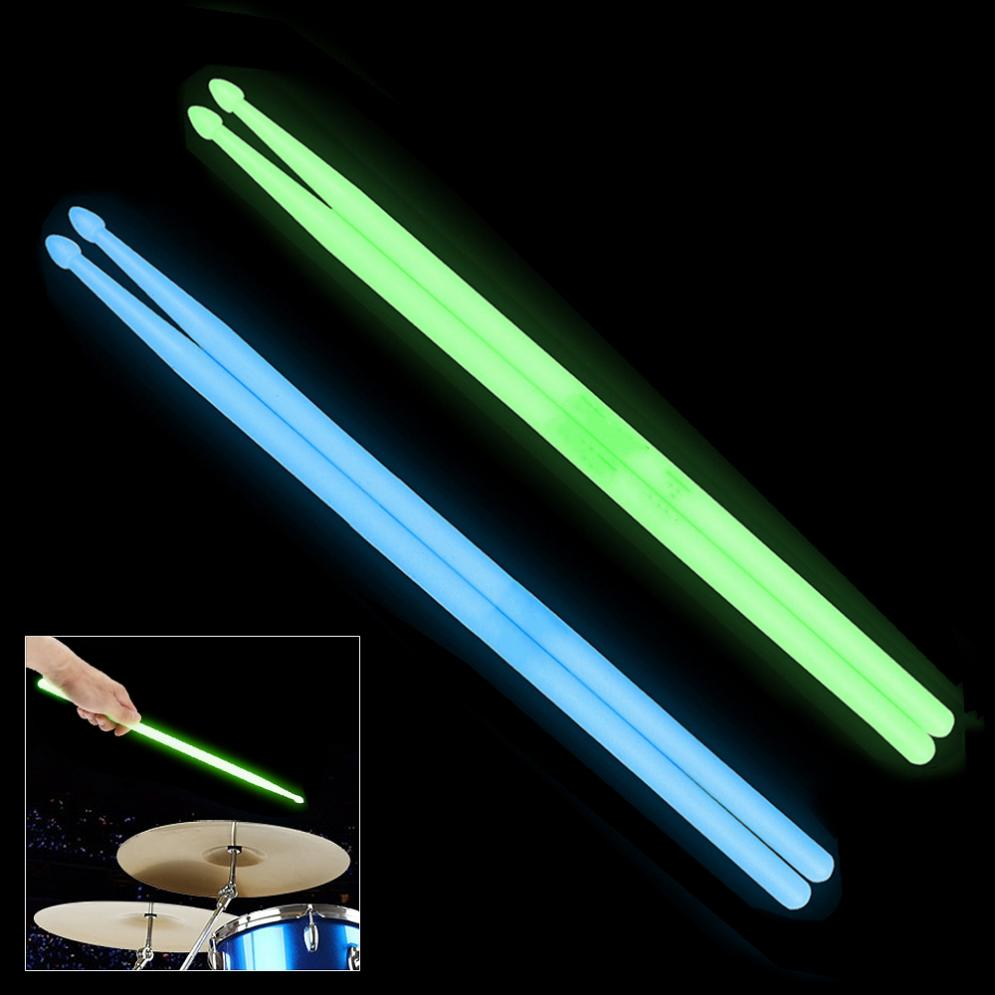 Noctilucent Nylon 5A Drum Stick Glow In The Dark Stage Performance Luminous Drumsticks 2 Colors Optional