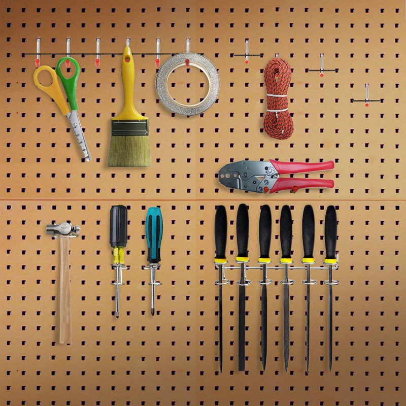 52Pcs Pegboard Hooks Assortment Home Storage Hooks System Peg Board Tool Hanger Set Garage Kitchen Workshop Organizer Utility Ho
