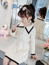 Girls Dresses for Party and Wedding Cardigan Clothes Kids Dresses for Girls with Sleeves Princess Dress Girls White Turn-down 2017 new luxury sweet jacquard lace girls princess long sleeves dresses for wedding birthday party spring kids white color dress