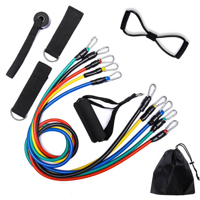 11/12pcs Pilates Latex Tubing Expanders Exercise Tubes Practical Strength Resistance Band Sets Fitness Equipment