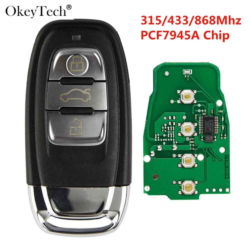 Okeytech 3 Button Car Smart Card Remote Key For Audi A4 S4 A5 S5 Q5 PCF7945A 315/433/868Mhz 8T0959754C 8K0959754G 8T0959754D|Car Key| |  - title=