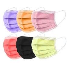 Máscara facial sete cores descartável poeira protetora adulto pano meltblown três camada máscara máscara de poeira mascarillas de colores 50 pçs