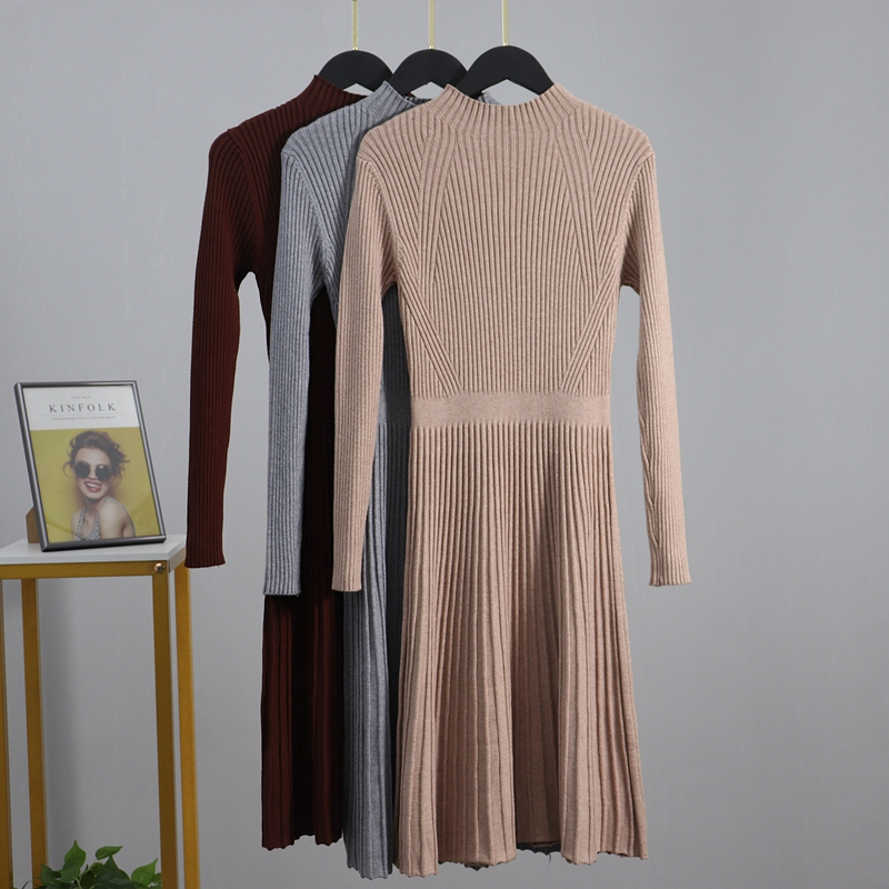 GIGOGOU Chic kobiety długo drutach sweter Maxi sukienka jesień zima dzianiny linia A sukienka żebrowane grube bluza bożonarodzeniowa sukienek|Suknie|   - AliExpress