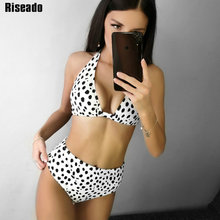 Riseado New High Waisted Bikinis Sexy Halter Swimsuit Push Up Swimwear Women Dot Print Beach Wear biquini Brazilian