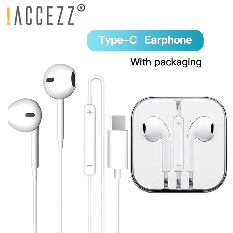 !ACCEZZ Type C In-Ear Earphone Wire Control For Xiaomi Mix 3 Samsung S10 Huawei P30 P20 Phone Support Answer Call Music Earphone image