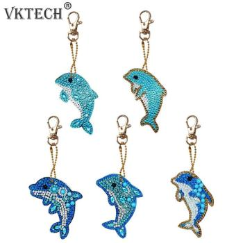 5pcs Dolphin Shape Key Chains 5D DIY Diamond Painting Keychains Special Shape Full Drill Diamond Embroidery Keyring Gift