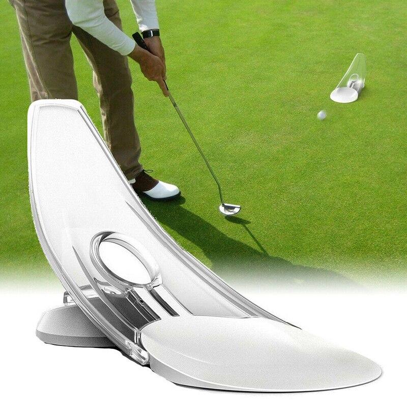 Portable Outdoor Indoor Golf Putting Practice Trainer Aid Parabolic Putt Returner Foldable Golf Putt Action Putting Trainer